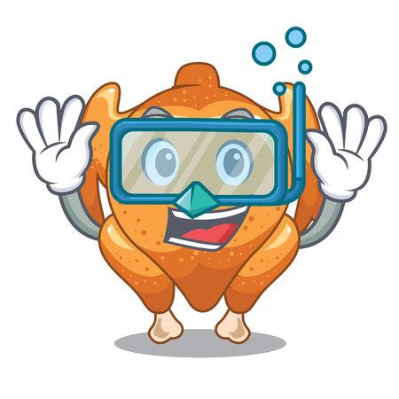 Diving roast chicken served the cartoon table vector illustration