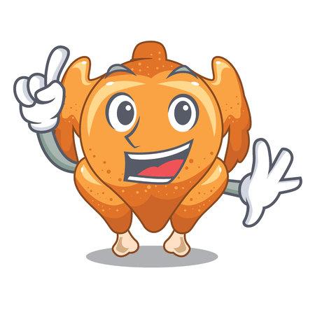 Finger cartoon roast chicken ready to eat vector illustration