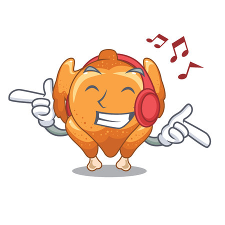 Listening music chicken roast is isolated with characters vector illustration