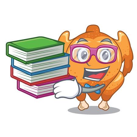 Student with book cartoon roast chicken ready to eat vector illustration Illustration