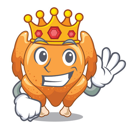 King cartoon roast chicken ready to eat vector illustration