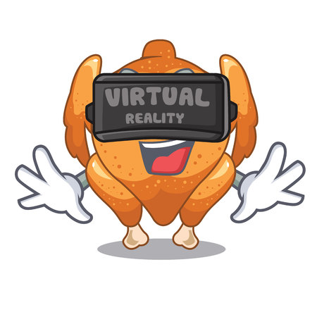 Virtual reality chicken roast is isolated with characters vector illustration