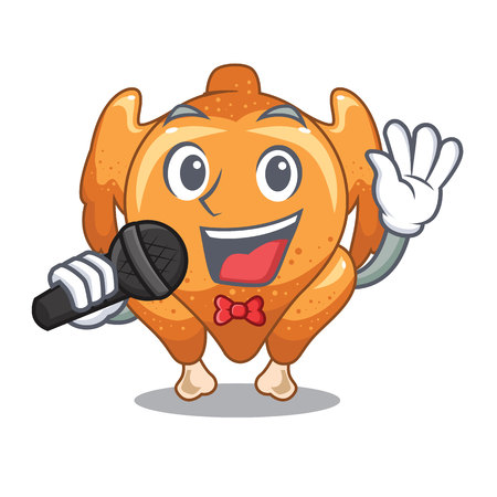 Singing chicken roast is isolated with characters vector illustration