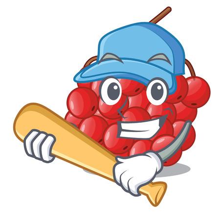 Playing baseball rowan berries fruit on cartoon wood vector illustration
