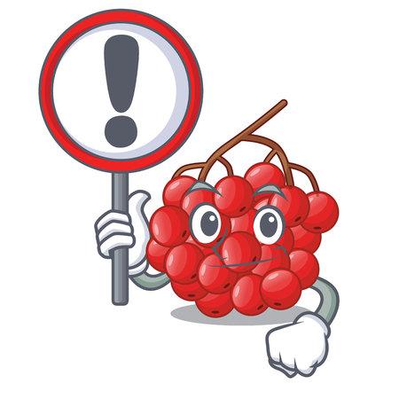 With sign rowan berries fruit on cartoon wood vector illustration