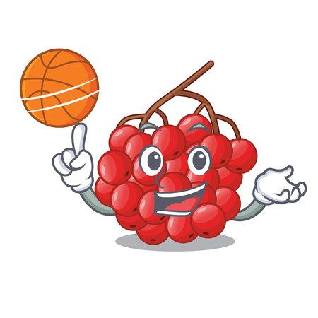 With basketball rowan berries fruit on cartoon wood vector illustration