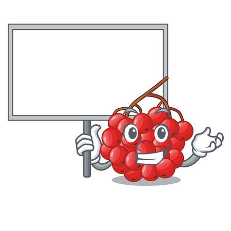 Bring board rowan berries fruit on cartoon wood vector illustration Illustration