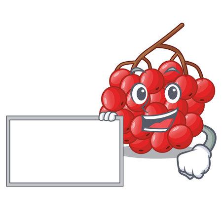 With board rowan berries fruit on cartoon wood vector illustration Illustration