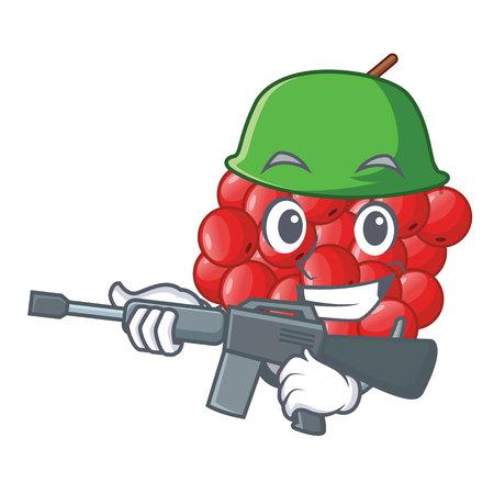 Army rowan berries fruit on cartoon wood
