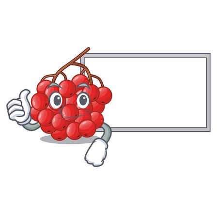 Thumbs up with board rowan berries fruit on cartoon wood vector illustration Illustration