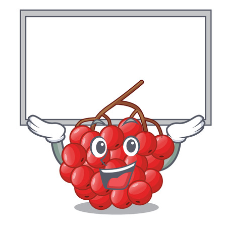 Up board rowan berries fruit on cartoon wood vector illustration Illustration