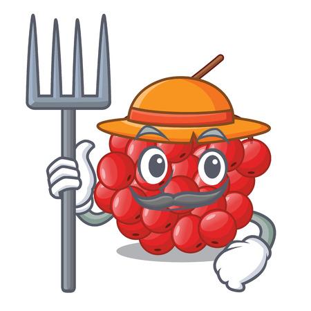 Farmer rowan berries fruit on cartoon wood vector illustration