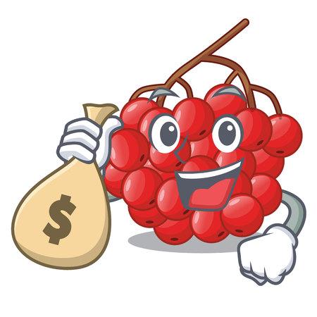 With money bag rowan berries fruit on cartoon wood Illustration