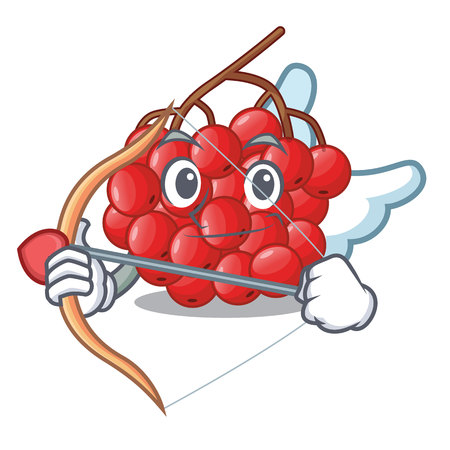 Cupid rowan berries fruit on cartoon wood vector illustration