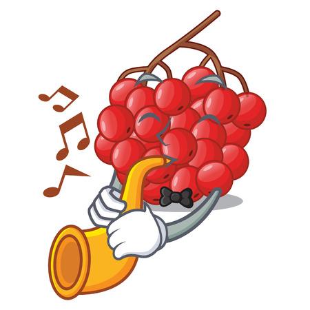 With trumpet rowan slices fruit cartoon berries shape vector illustration