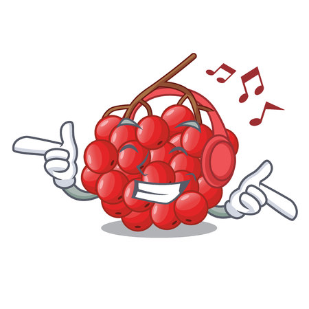 Listening music rowan slices fruit cartoon berries shape vector illustration Ilustração