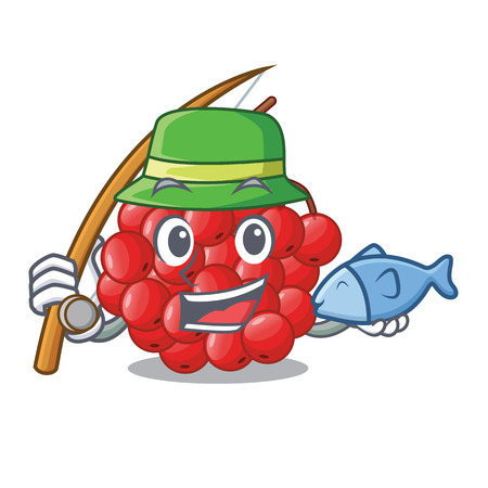 Fishing rowan slices fruit cartoon berries shape vector illustration Ilustração