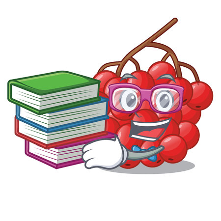 Student with book rowan berries isolated with the mascot vectorb illustration