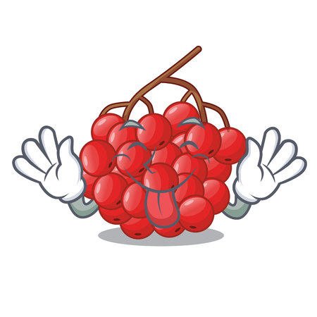 Tongue out rowan berries isolated with the mascot vectorb illustration