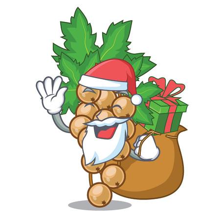Santa con regalo carrunt blanco sobre la ilustración de vector de tazón de mascota Ilustración de vector