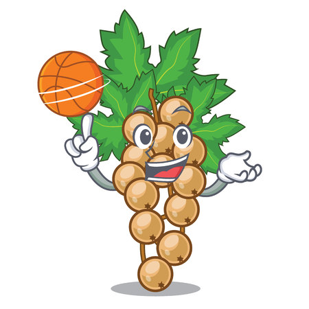 With basketball white currant isolated with the cartoons vector illustration Illustration