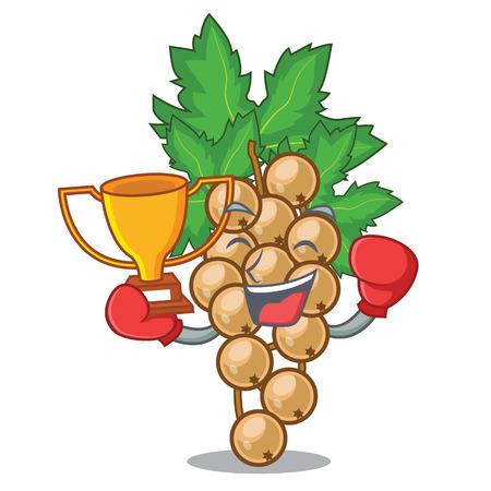 Boxing winner carrunt white above the mascot bowl vector illustration