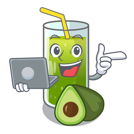 With laptop avocado smoothies in a mascot glass vector illustration