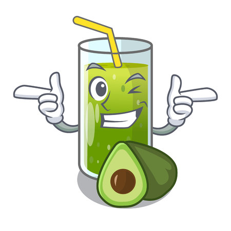 Wink avocado smoothie on wooden cartoon table vector illustration