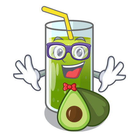 Geek avocado smoothie on wooden cartoon table vector illustration