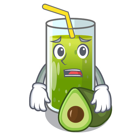Afraid avocado smoothies are isolated on characters vector illustration