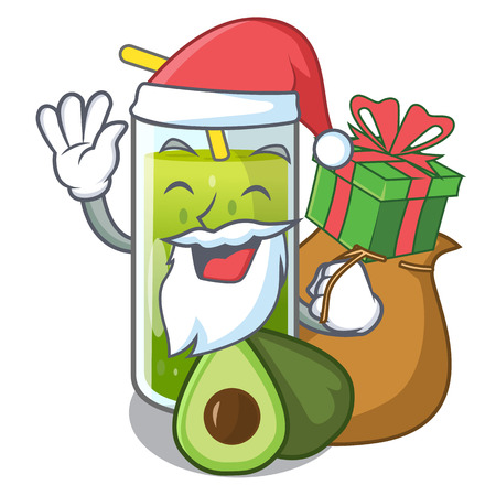 Santa with gift avocado smoothies in the cartoon shape vector illustration Illustration