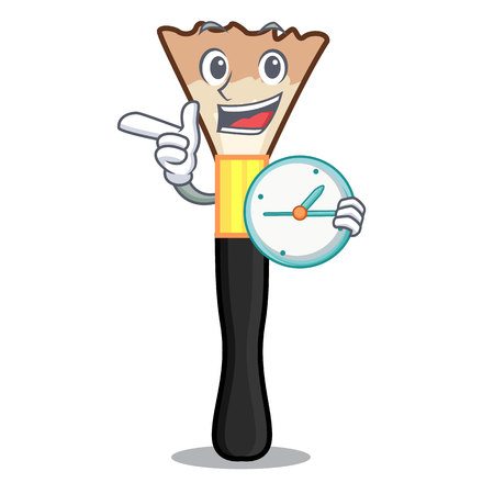 With clock blusher on a cartoon dressing table vector illustration