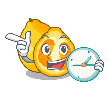 With clock ugli in the mascot fruit basket illustration vector Vettoriali