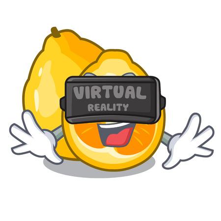 Virtual reality ugli fruit in the cartoon fridge vector illustration Illustration