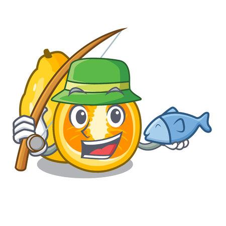 Fishing ugli fruit in the cartoon fridge vector illustration
