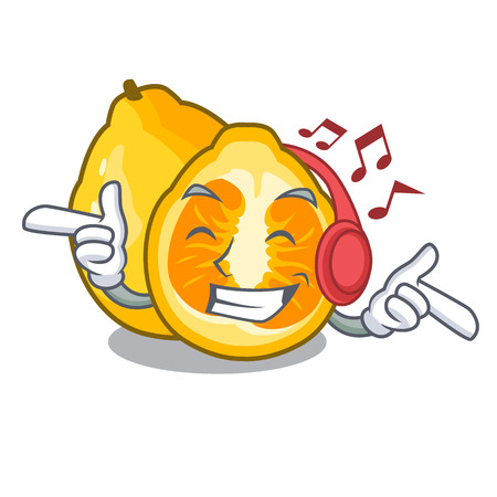Listening music ugli fruit in the cartoon fridge vector illustration