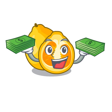 With money bag ugli fruit in the cartoon fridge vector illustration Illustration