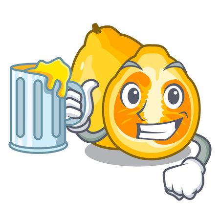 With juice ugli fruit in the cartoon fridge vector illustration