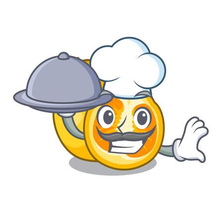 Chef with food ugli fruit in the cartoon fridge vector illustration