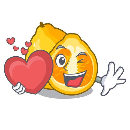 With heart ugli fruit in the cartoon fridge vector illustration Illustration