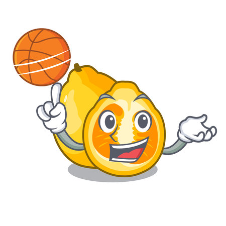 With basketball ugli fruit above the cartoon table Иллюстрация
