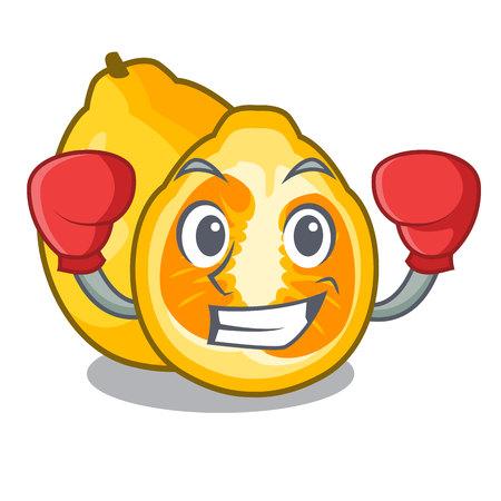 Boxing ugli fruit above the cartoon table Illustration