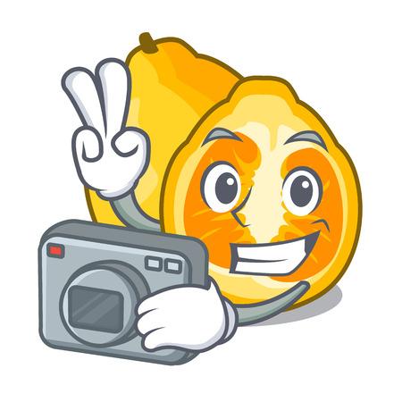 Photographer ugli fruit in the cartoon fridge vector illustration Illustration