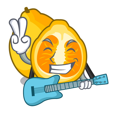 With guitar ugli fruit in the cartoon fridge vector illustration Illustration