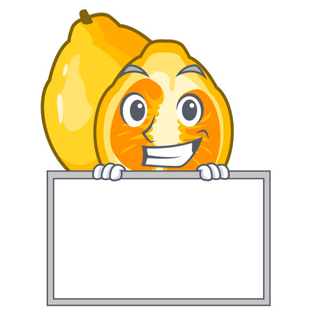 Grinning with board ugli fruit above the cartoon table vector illustration
