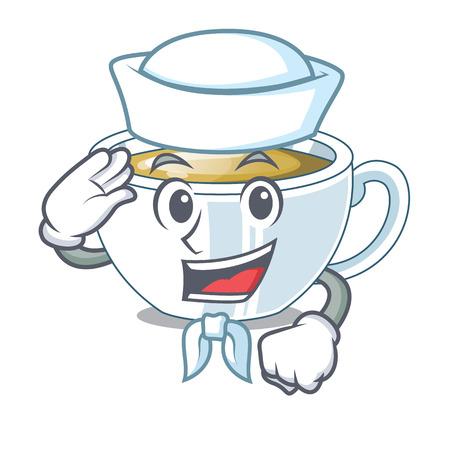 Sailor ginger tea in a glass mascot vector illustration