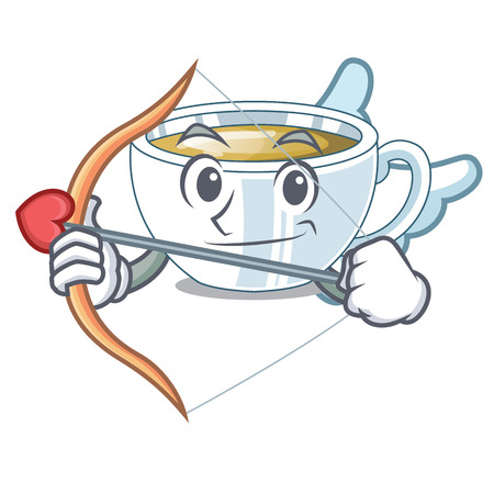 Cupid ginger tea in a glass mascot vector illustration