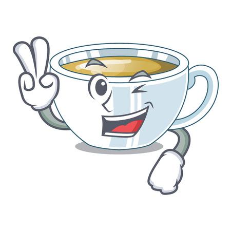Two finger ginger tea above character wooden table vector illustration