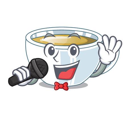 Singing ginger tea in the cartoon shape vector illustration Illustration