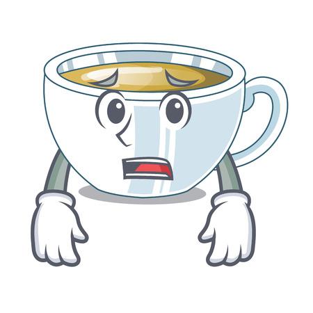 Afraid ginger tea in the cartoon shape vector illustration